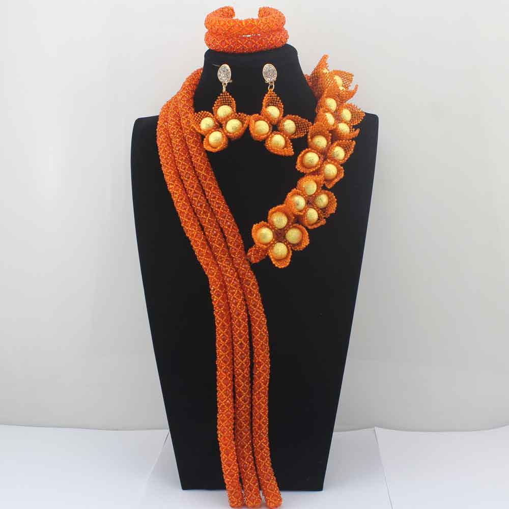 2017 Surprising Orange Flower African Costume Jewelry Sets Nigerian Wedding Beads Bridal Necklaces Earrings Free Shipping HD8584