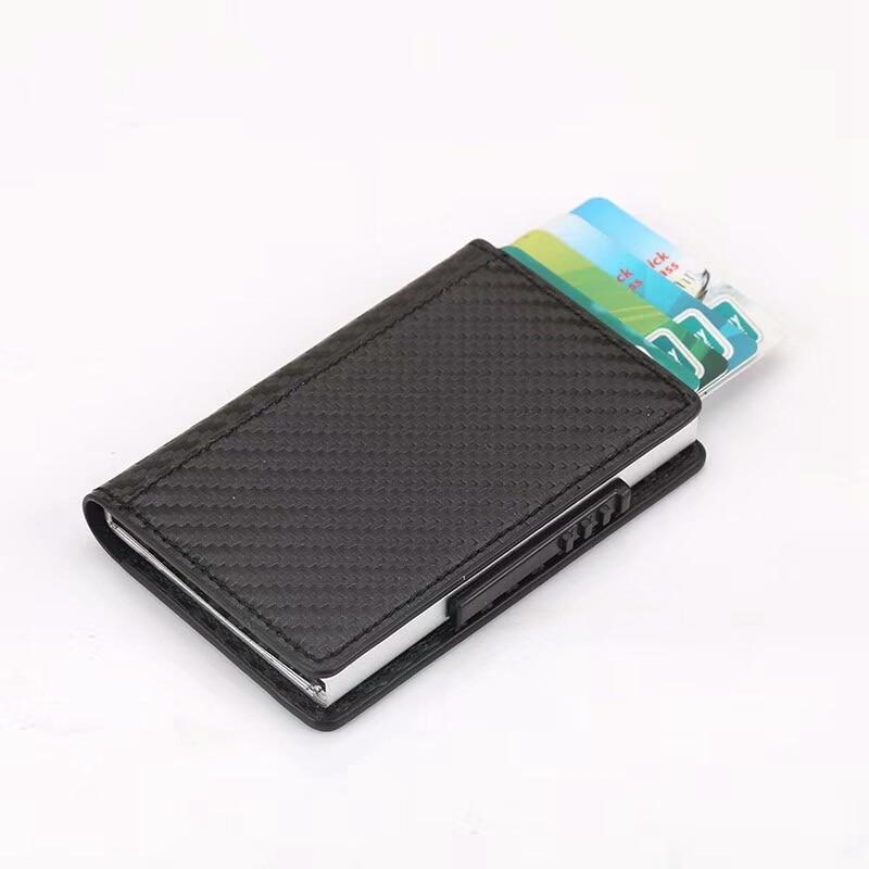 Vintage Aluminum Credit Card Holder Women Men Slim RFID Blocking Wallet Carbon Fiber PU Leather Bank