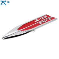 Side Fender For Red R T RT Logo Car Metal Sticker Blade Decal Knife Wind Auto