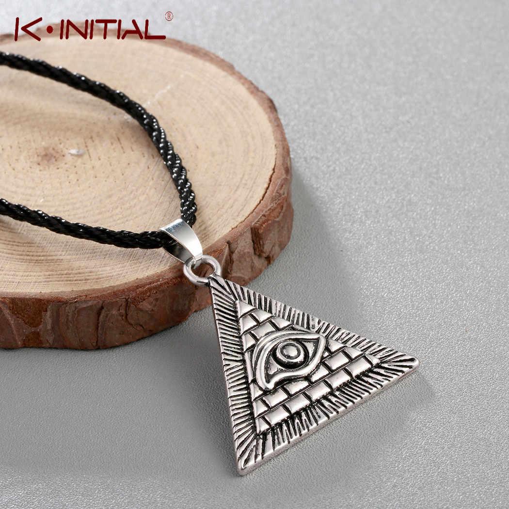 Kinitial Vintage Egitto Piramide Che Tutto Vede Evil Eye Illuminati Collana Egiziano di Fascino Pendenti con gemme e perle Collane Gioielli