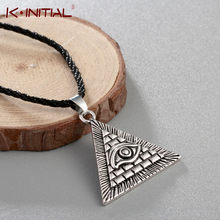 Kinitial Vintage Egypt Pyramid All-Seeing Evil Eye Illuminati Necklace Egyptian Charm Pendants Necklaces Jewelry(China)