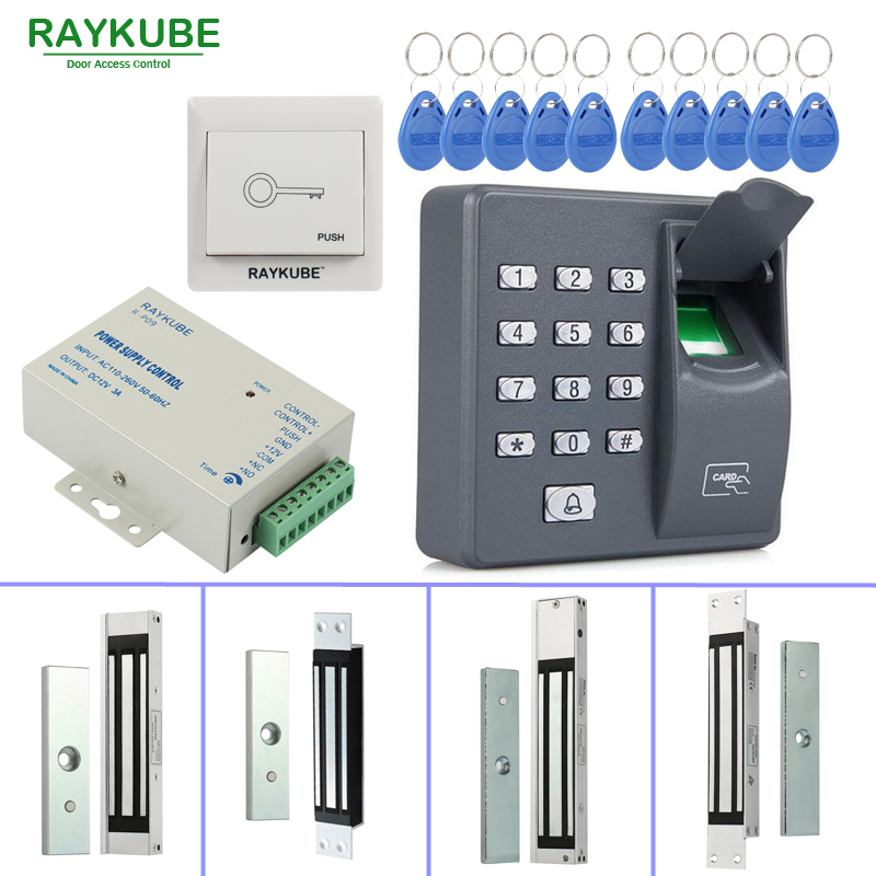 RAYKUBE Door Access Control System Kit 180KG/280KG Electric Magnetic Lock + Biometric Fingerprint Reader RFID Password Keypad raykube glass door access control kit electric bolt lock touch metal rfid reader access control keypad frameless glass door