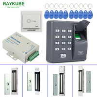 RAYKUBE Door Access Control System Kit 180KG 280KG Electric Magnetic Lock Biometric Fingerprint Reader FRID Password