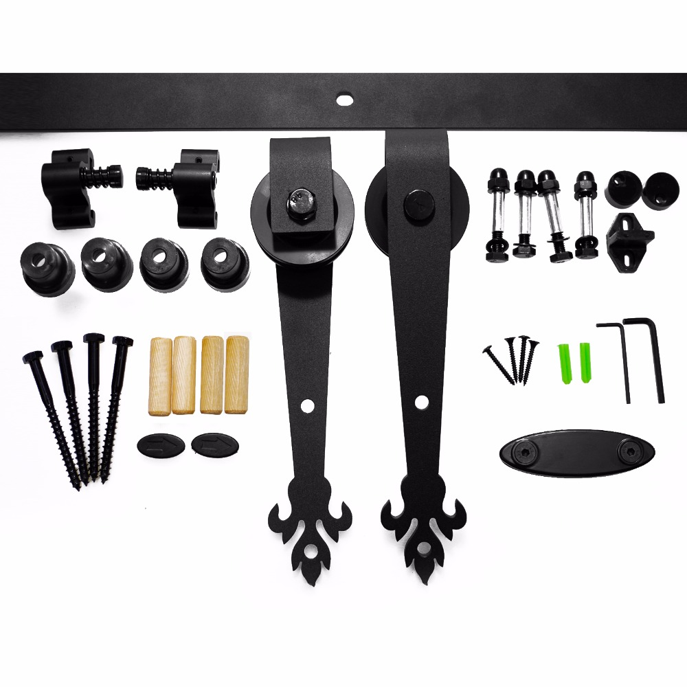 Купить с кэшбэком LWZH Sliding Wood Barn Door Hardware Kit Black Steel Three Leaves Shaped Track Roller Closet Door Hardware Kit for Double Door