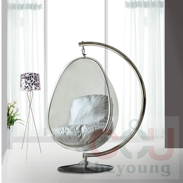 Metal Stents Transparent Acrylic Ball Oval Bubble Chair Bubble Chair  Hanging Chair Swing Balcony Garden