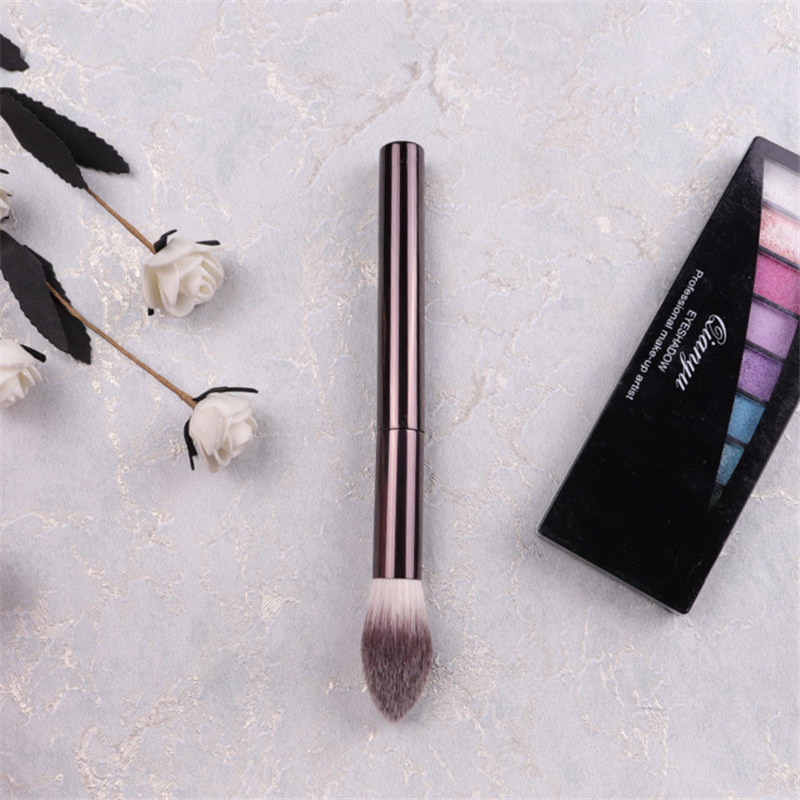 Professional Coffee Color Metal HG #16 Flame Shape Cheek Blush Highlighter Powder Make up Brush Beauty Blending Brush