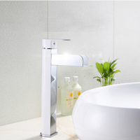 Deck Mount LED Light Waterfall Spout Bathroom Basin Faucet Vanity Sink Mixer Tap Brass Water Faucets