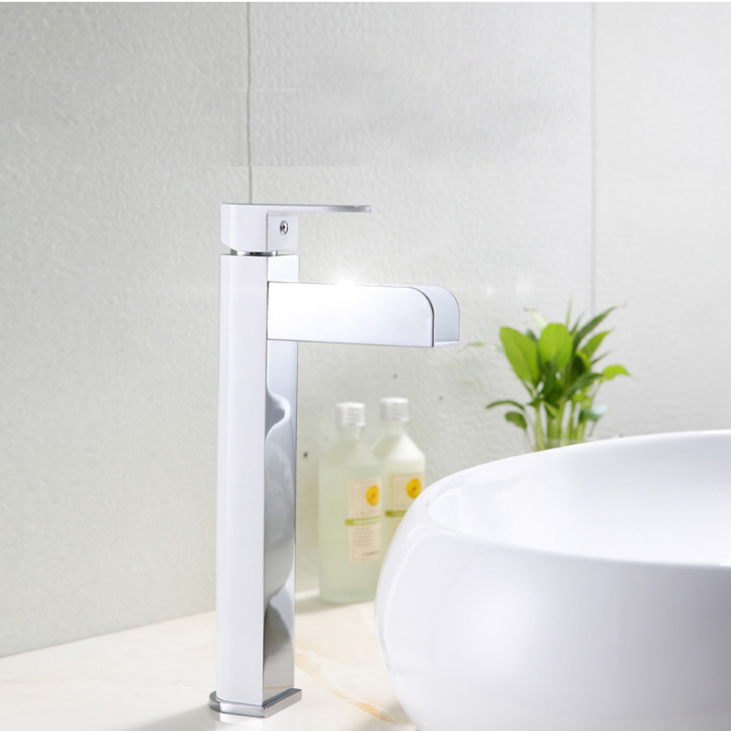 LED Light Waterfall Basin Faucet Vanity Sink Mixer Tap Brass Faucets Water Power Taps Hot Cold Bathroom Sink Faucets