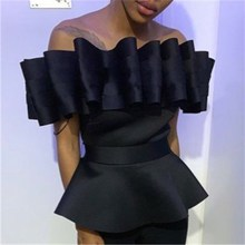 Streetwear Party Peplum Blouse Women Off Shoulder Top Backless Pleated Shirt Solid Summer Slim Elegant Tunic Blouse off shoulder pleated flowy top