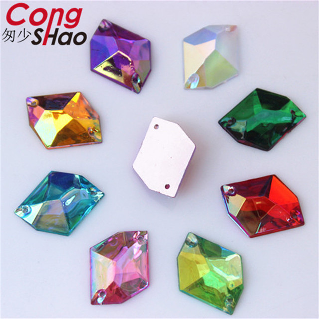 Cong Shao 100pcs 13 17mm AB Color cosmic shape flatback Acrylic rhinestone  stones crystals sewing 2 Hole costume Button CS606 92a1a0b3aef7