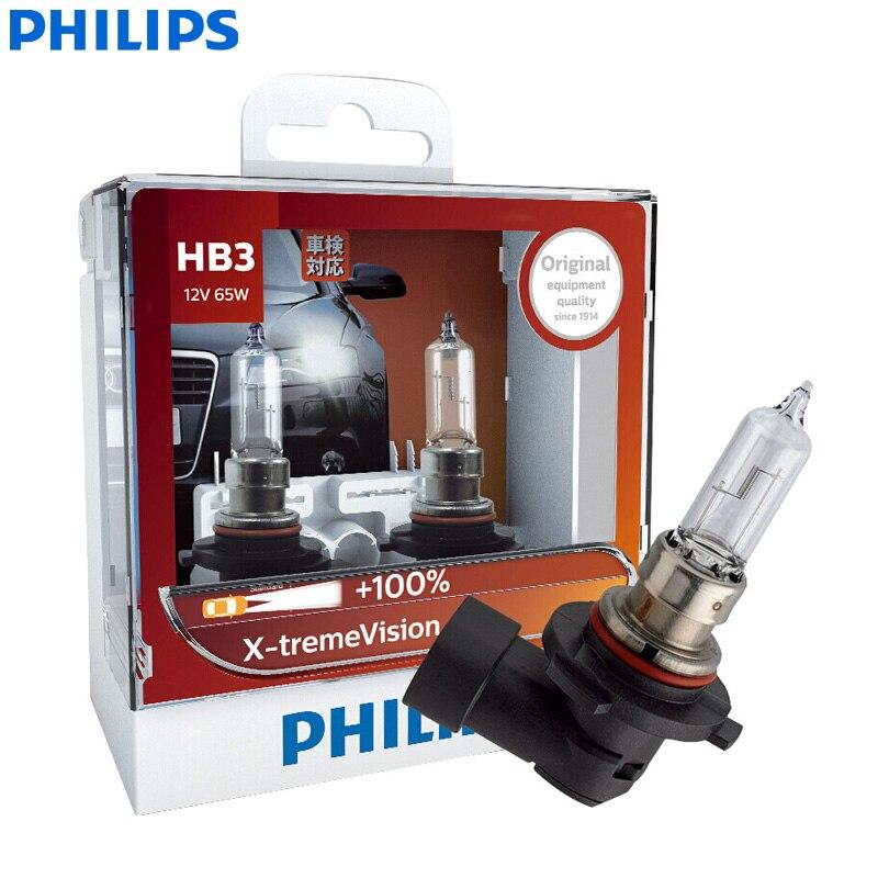 Philips X-treme Vision 9005 HB3 12V 65W P20d 9005XVS2 +100% More Vision Light Car Halogen Headlight Auto Lamps (Twin Pack)