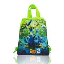 1pcs Drawstring Backpacks Bags 34*27CM Cartoon Rio2 Children Non Woven Fabrics Home Storage School Shopping