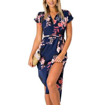 Women's V-Neck Floral Printed Dress Cocktail and Party Dresses Woman Clothing Color: Blue Size: XXXL
