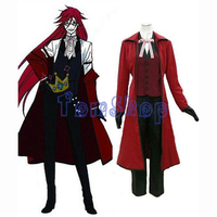 Black Butler Grell Sutcliff (Red Butler) Cosplay Uniform Suit Men's Costume Custom made Free Shipping