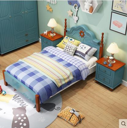 Children Beds Kids Furniture Blue And White Solid Wood Kids Beds Child Bed Chambre Bebe European Style Hot New Boys Beds 120*200