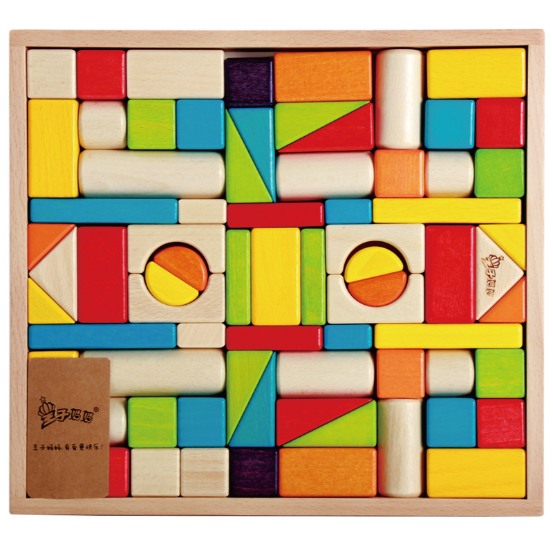 Baby gift imported wood color large blocks 1-2-3-6 years old early childhood educational toys 100% skiip25ac12t2 has imported genuine old [invoicing]
