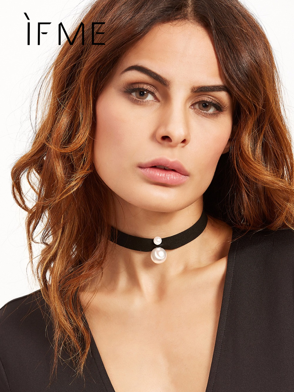IF ME Fashion Cloth Lace Tattoo Choker Necklaces Simulated Pearl Multilayer Black Short Choker Necklace For Women Jewelry Colar
