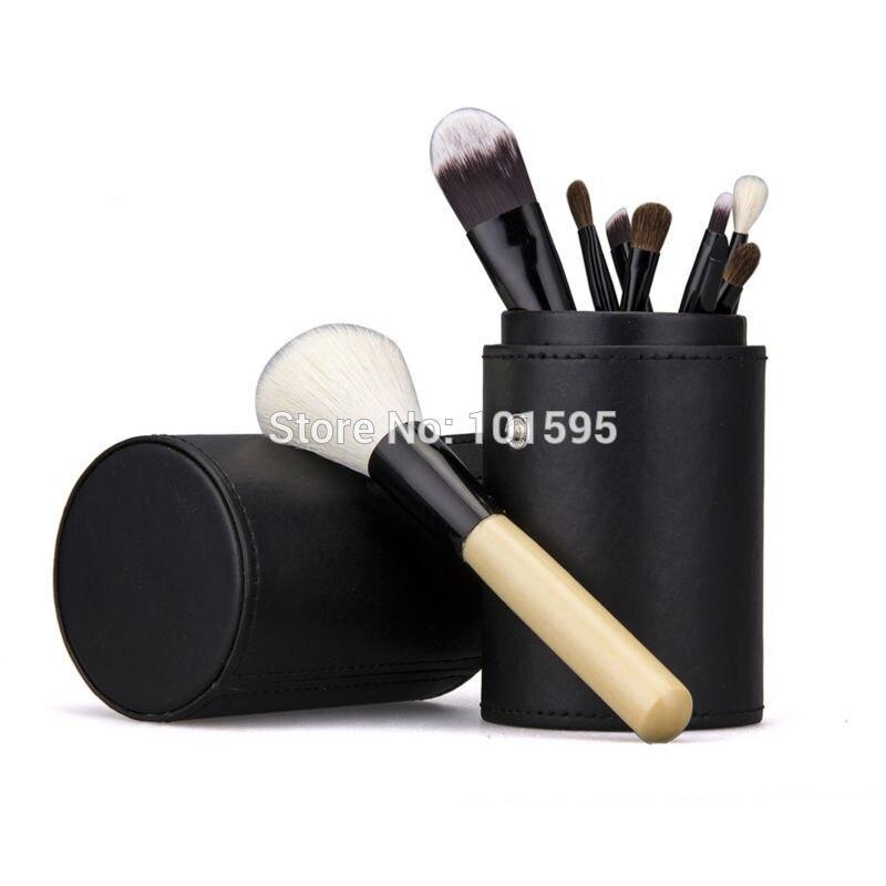 New 9pcs Normal Professional <font><b>Makeup</b></font> Brush Set Cosmetic Brush Kit <font><b>Makeup</b></font> Tool with <font><b>Black</b></font> <font><b>Cup</b></font> Leather Holder Case