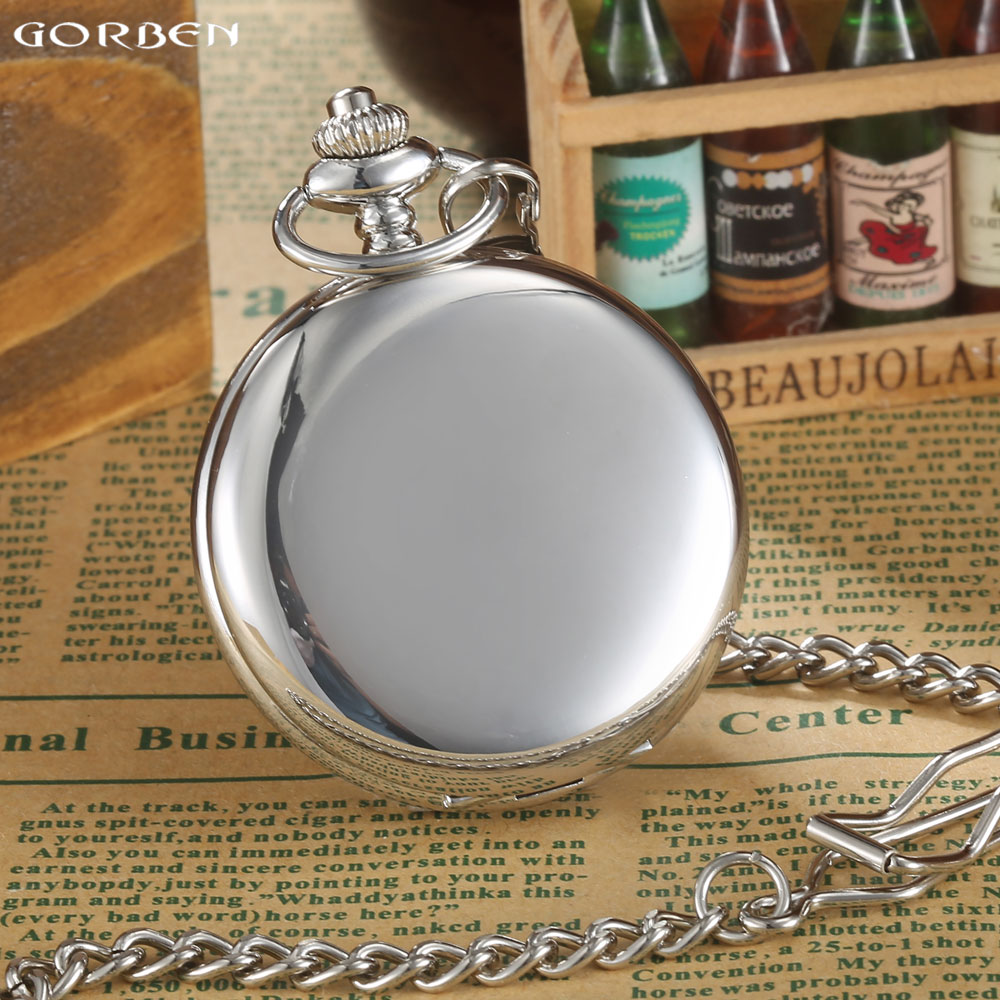 GORBEN Brand Classical Silver Polishing Quartz Men Pocket Watch Round Roman Number Necklace Relogio De Bolso Gift Men Watch