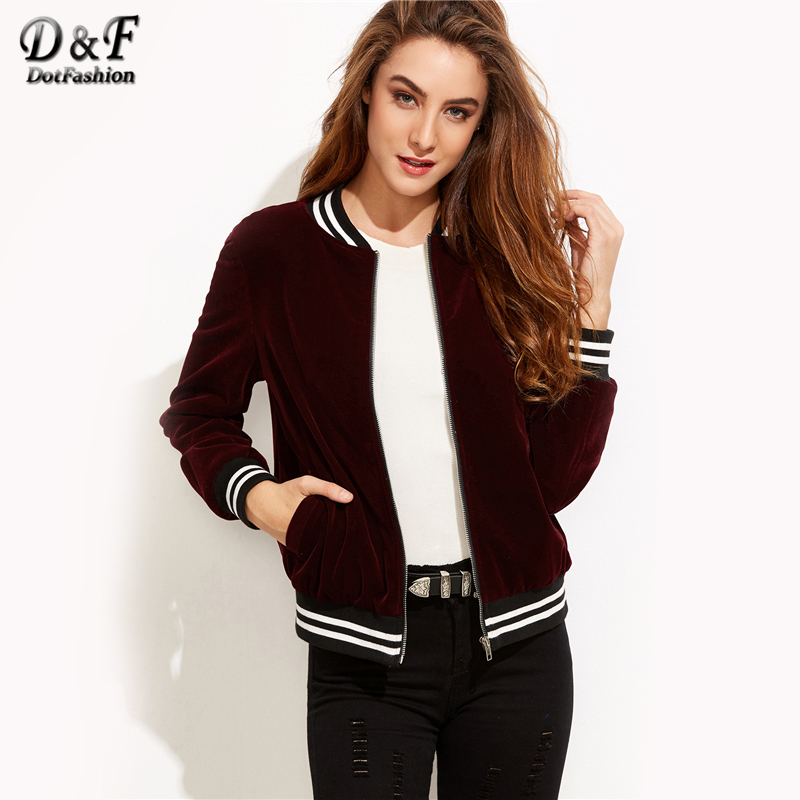 Dotfashion Varsity Striped Velvet Bomber Jacket 2018 Burgundy Stand Collar Coat Ladies Autumn Long Sleeve Zipper Jacket striped trim zipper up bomber jacket