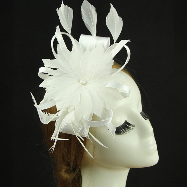 2016 New Women Bridal Hat White/Red/Ivory/Grey/Blue/Black Satin with Feather Wedding Hair Accessories Elegant chapeau mariage
