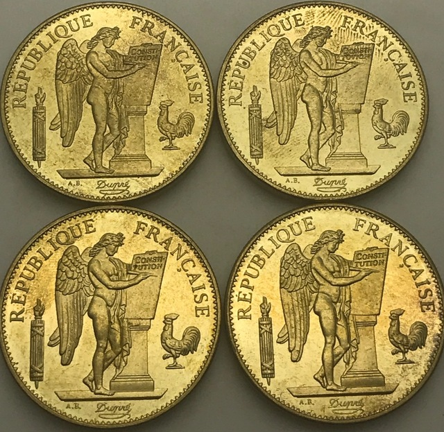 US $11 6 |France 1882 1887 1889 1894 A Republique Francaise Liberte Egalite  Fraternite 100 Francs Gold Copy Coin Brass Metal-in Non-currency Coins