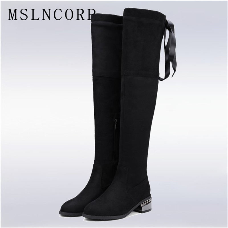 Size 34-48 Sexy Party Lace Up Over the Knee Boots Women Classic Suede Stretch Fabric Zipper Long Boots Lady Square Heel Shoes vallkin 2018 lace up women boots rhinestone square high heel over the knee boots stretch fabric wedding ladies boots size 34 43