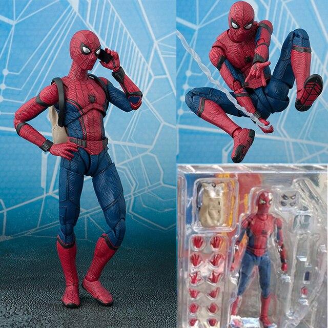 2017 Nova Série Spiderman Homem-Aranha PVC Action Figure Collectible Modelo Toy Presente de Natal para Crianças 15 cm
