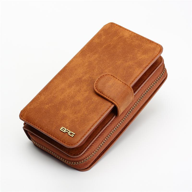 Wielofunkcyjny portfel skórzany case do samsung s4 s5 s6 s7 edge S8 NOTE4 NOTE5 Zipper Torebka Pouch Sprawach Telefonów Lady Torebka Okładka 3