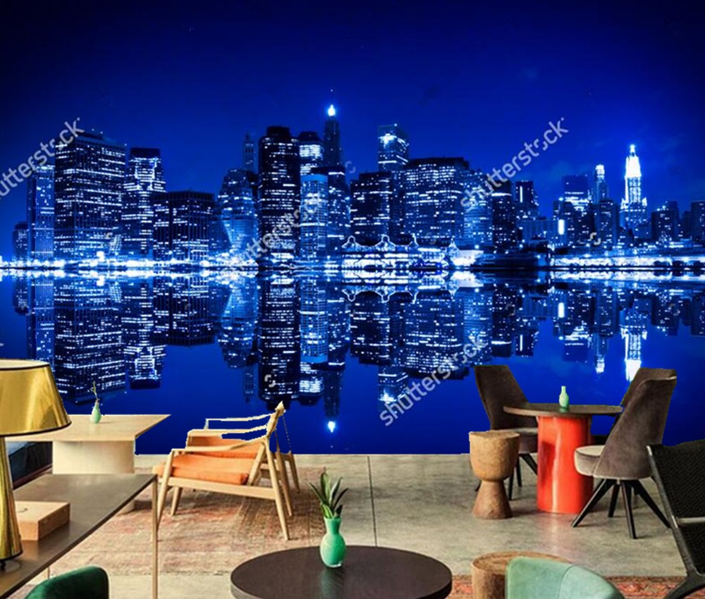 Custom 3D murals,New York at night with reflection in water city wallpaper,living room sofa TV wall bedroom bar ktv .3d murals the custom 3d murals the new york times center building street black and white living room sofa tv wall bedroom wall paper