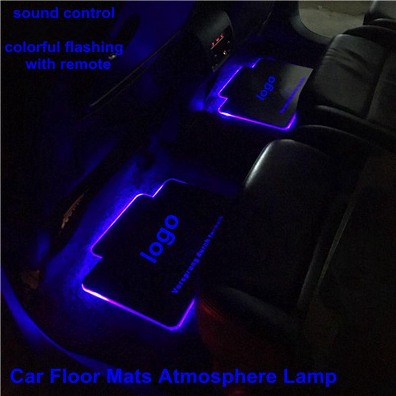 car interior atmosphere lamp,car floor mats decorative lamp,sound control music rhythm flashing light,music control lamp,colorful flashing light,remote sound control lamp,with remote,remote control RGB atmosphere for car,multic-colour 1