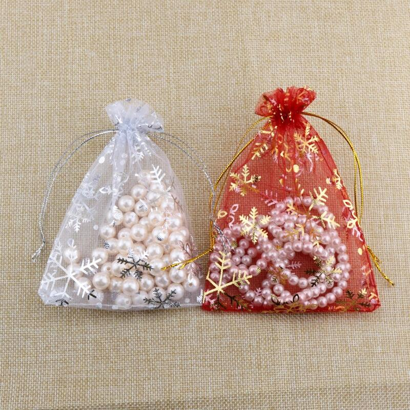 50pcs/lot Small Organza Bags 7x9 10x14cm Christmas Jewelry Packaging Bags Organza Pouches Cute Snowflake Drawstring Gift Bag