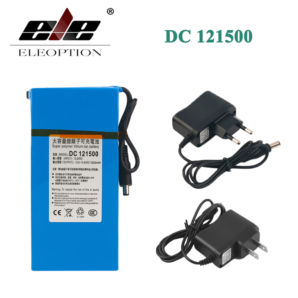 ELEOPTION DC 121500 DC 12V 15000mAh Super Powerful Rechargeable Lithium ion Battery With Plug