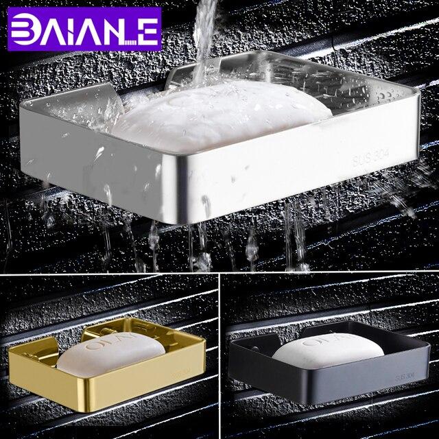 Baianle Toile Soap Dish Black Bathroom Wall Mount Stainless Steel Rack Shelf
