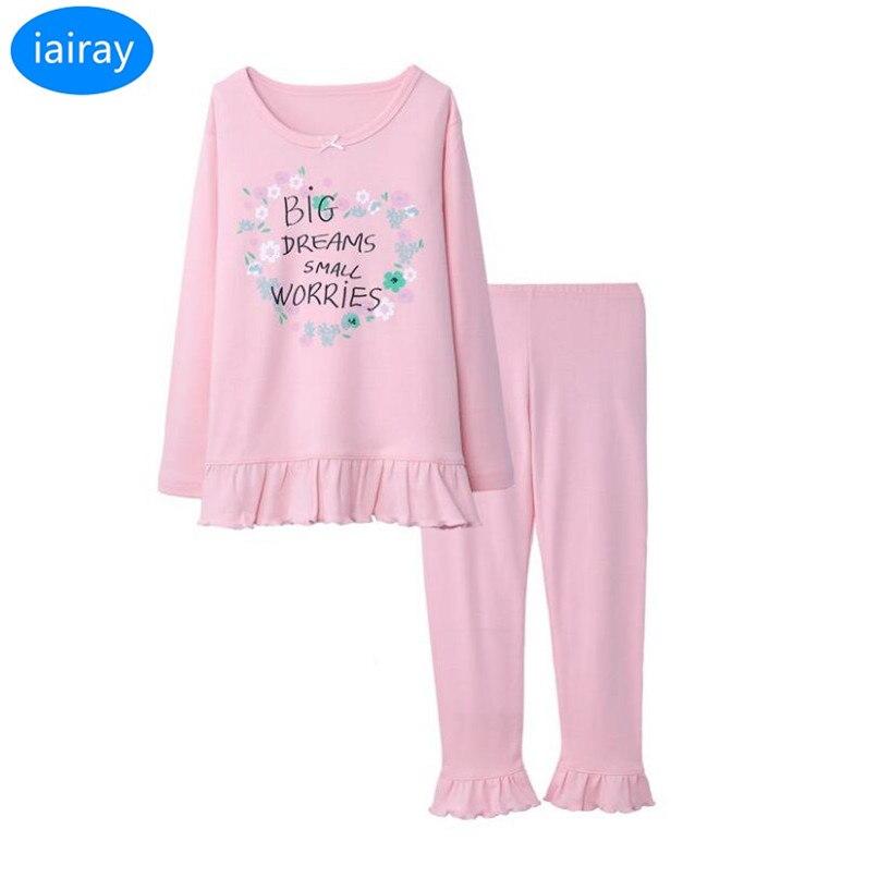 iairay children pajamas for girls spring autumn cotton pajama set casual flower sleepwear kids sleep shirt long pants