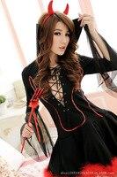 Envío Libre diablo disfraces para mujeres Lencería Sexy disfraces de brujas negro cosplay de halloween para las mujeres ropa sexy