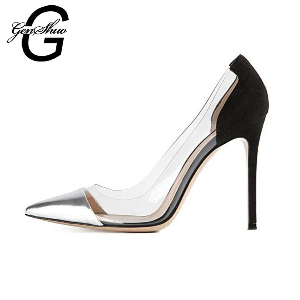 GENSHUO Women Pumps 2017 Transparent 11cm High Heels Sexy Pointed Toe Slip-on Wedding Dress Shoes For Lady Size 41 42 Leopard glitter fashion wedding pumps sexy pointed toe high heels shoes pumps slip on light yellow white black women pumps