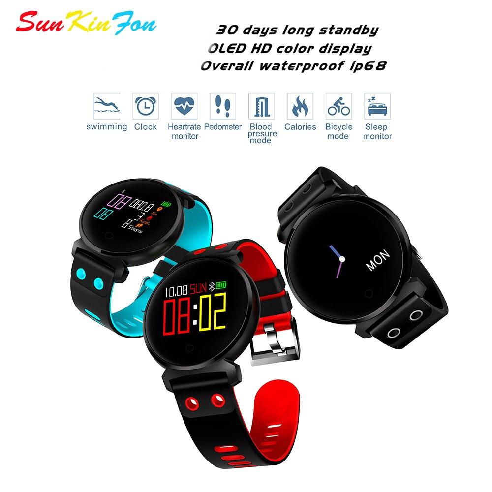 SunKinFon K2 Bracelet À Puce Montre Fitness Tracker Coeur de La Pression Artérielle Moniteur de Fréquence en oxygène du Sang Détection Étanche Bande À Puce