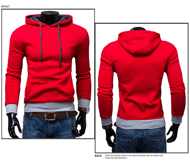 ZOGAA 2019 Fall Fashion Men's Casual Fashion Color Hooded Jumper Color Matching Men Hoodies