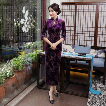 Shanghai Story Keyhole Velvet Qipao Chinese traditional Dress chinese Oriental dress 3/4 Sleeve long Cheongsam Dress For Autumn