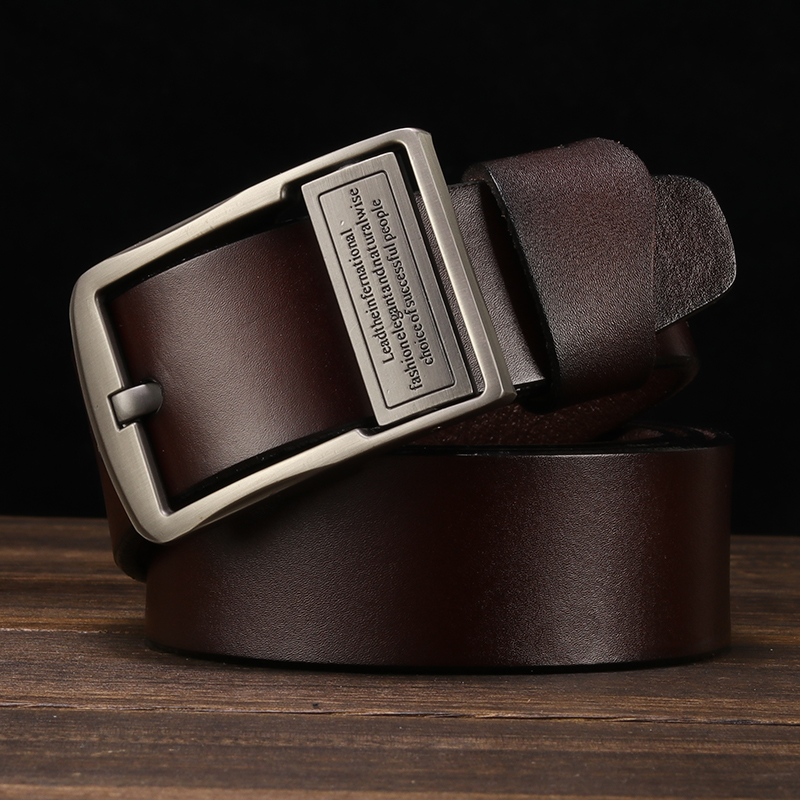 LFMB Men 39 s belt leather belt men pin buckle cow genuine leather belts for men 130cm high quality mens belt cinturones hombre in Men 39 s Belts from Apparel Accessories
