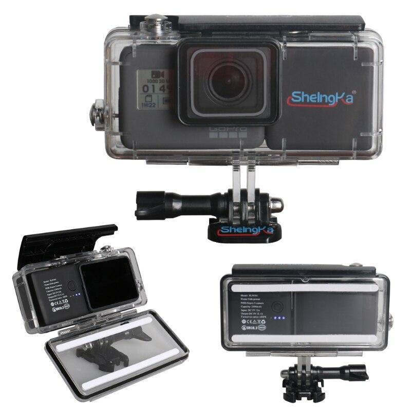 OOTDTY 45 M Custodia Impermeabile con External 2300 mAh Batteria Set per Hero 5 Camera