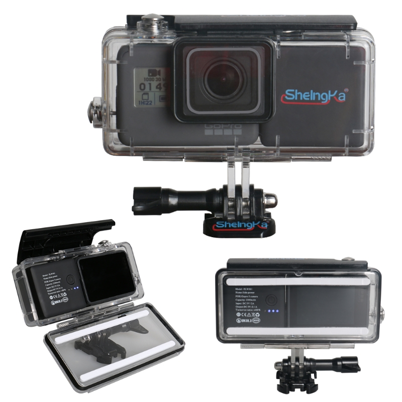 OOTDTY 45M Waterproof Housing Case with External 2300mAh Battery Set for Hero 5 Camera