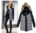 Hot  Europe style winter  women's  raccoon fur collar elegant hooded thickening cotton-padded clothes outwear jacket coat