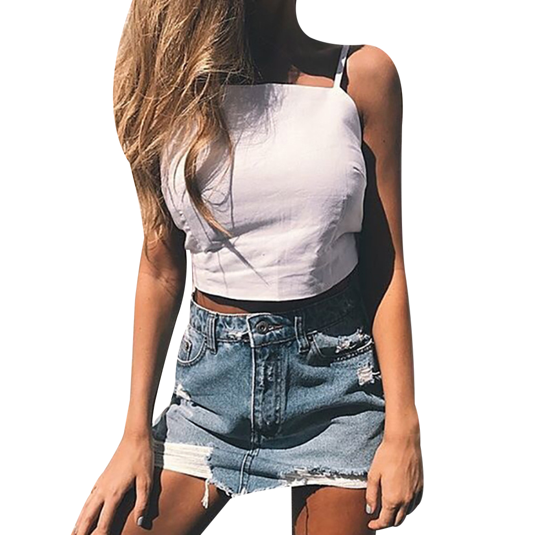 2018 Women Summer Sexy Crop Tops Bowknot Bandaged Solid Color Tank Tops Camis Ladies Backless Vest Shirts Camisole Femme