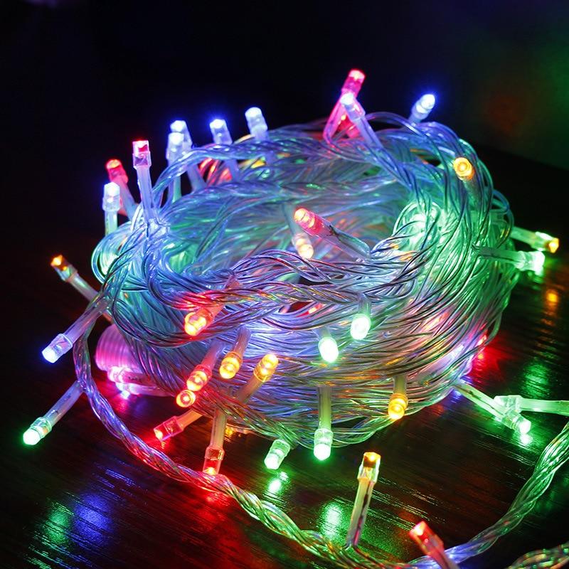 Lumières de noël imperméables en plein air chaîne EU 220 V Plug vacances lumières décoration pour jardin de mariage 5 M 10 M 20 M 30 M