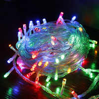 Outdoor Waterproof Christmas Lights String EU 220V Plug Holiday Lights Decoration For Wedding Garden 5M 10M 20M 30M