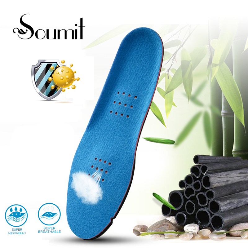Soumit Double Bamboo Charcoal Deodorant Antibacterial Footbed Insole for Men Women Remove Odor Running Cushion Insoles Shoe Pads цена