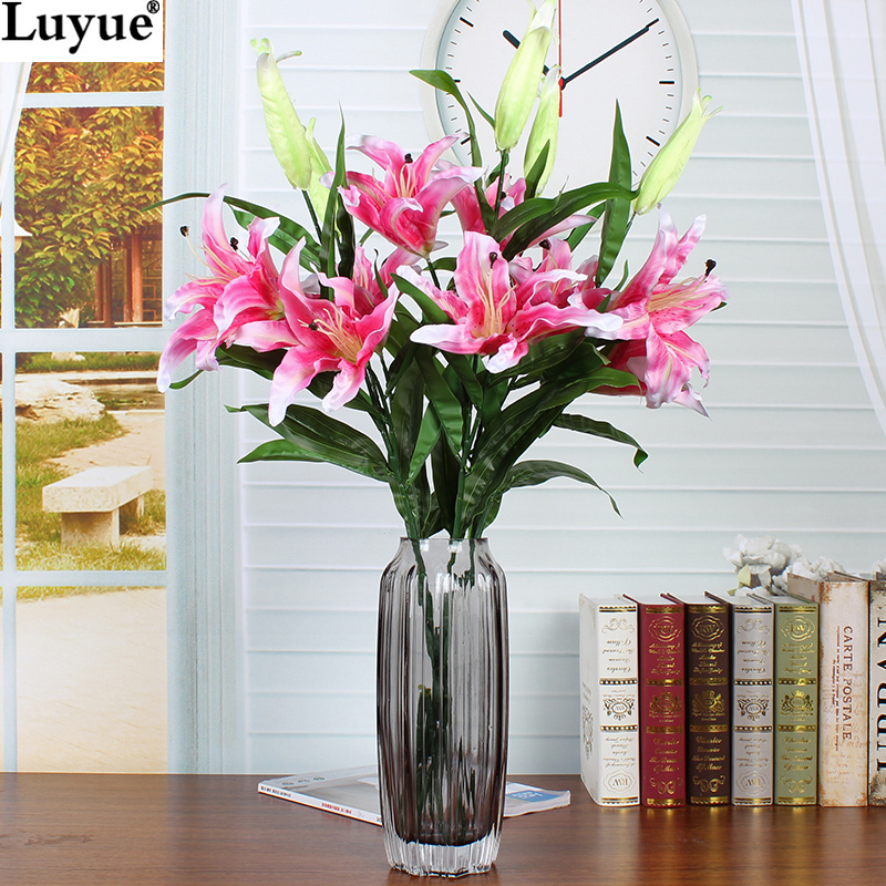 Luyue Official Store 4pcs 2 Heads 87cm Lily Flowers Artificial Flower Silk  Flowers Home Decor For