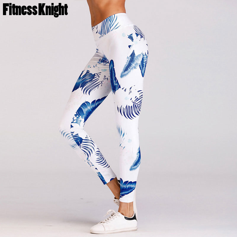 Yoga Pants Print Quick Dry Yoga Leggings Women Fitness Sport Leggings Elastic Waist Sport Pants Workout Running Pants Sportswear active blue random print yoga leggings